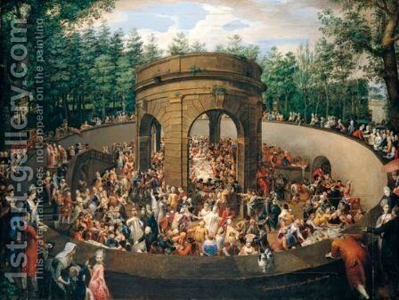 Rome, The Grotta Dei Vini (Or Tinello) In The Gardens Of The Villa Pinciana, A Banquet Given By Prince Marcantonio Borghese In Honour Of The Electress Of Saxony, 1772 by Ignaz Unterberger - Reproduction Oil Painting