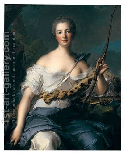 Portrait Of Madame De Pompadour In The Guise Of Diana by Jean-Marc Nattier - Reproduction Oil Painting
