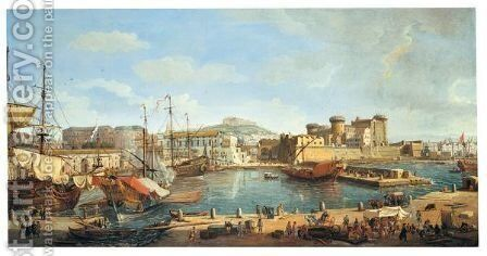 Naples, A View Of The Darsena by Caspar Andriaans Van Wittel - Reproduction Oil Painting