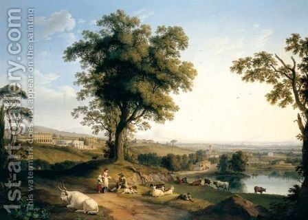 A Panoramic Landscape In The Roman Campagna With A Distant Prospect Of The Villa Albani Near Rome, Peasants With Goats And Cattle Beneath A Great Tree In The Foreground. by Jakob Philippe Hackert - Reproduction Oil Painting