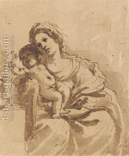 Madonna And Child by Giovanni Francesco Guercino (BARBIERI) - Reproduction Oil Painting