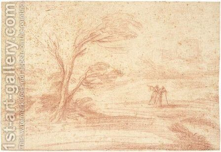 A Landscape With A Tree And Two Travellers Near A Pond In The Foreground, And Distant Buildings Behind by Giovanni Francesco Guercino (BARBIERI) - Reproduction Oil Painting