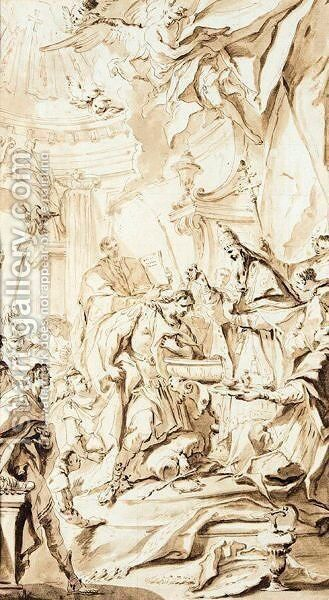 The Baptism Of Constantine by Carlo Innocenzo Carlone - Reproduction Oil Painting