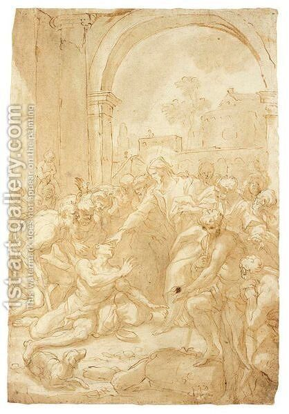 Christ Healing A Cripple by Domenico Piola - Reproduction Oil Painting