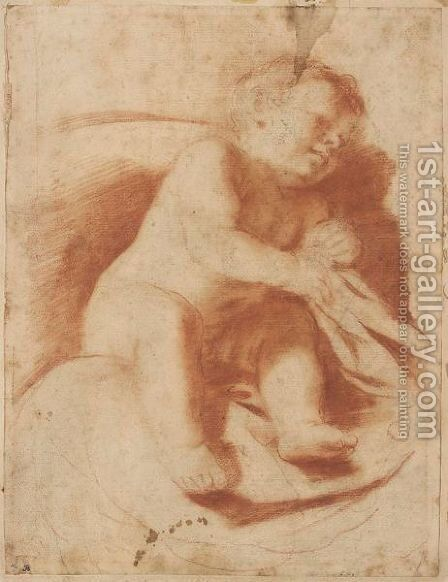 Study Of A Sleeping Child by Giovanni Francesco Guercino (BARBIERI) - Reproduction Oil Painting