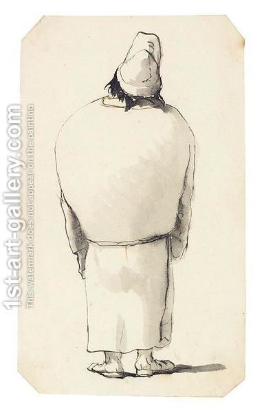 Caricature Of A Man, Seen From Behind, Wearing White Robes And A Cap by Giovanni Battista Tiepolo - Reproduction Oil Painting