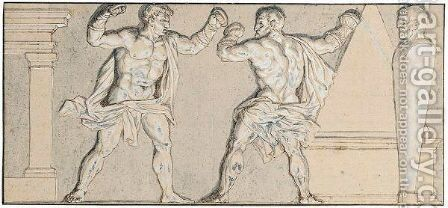 Hercules Boxing With Titias, Or Hercules Learning To Box by (after) Nicolas Poussin - Reproduction Oil Painting