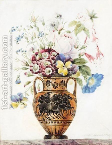 Flowers In A Grecian Urn by Anne-Ernestine Panckoucke - Reproduction Oil Painting