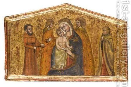 The Madonna And Child With Four Saints by Italian School - Reproduction Oil Painting