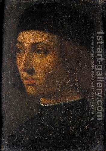 Portrait Of A Young Man, Head And Shoulders, Wearing Black by (after) Andrea Previtali - Reproduction Oil Painting