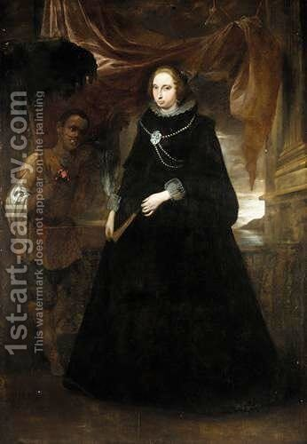 Portrait Of A Lady, Full Length Standing, Holding A Fan, With Her Moorish Attendant Holding A Parasole by (after) Giovanni Bernardo Carbone - Reproduction Oil Painting