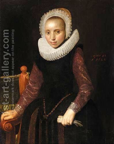 Portrait Of A Young Lady, Three Quarter Length, Wearing A Black Dress, With Purple Sleeves With An Elaborate Ruff by (after) George Geldorp - Reproduction Oil Painting