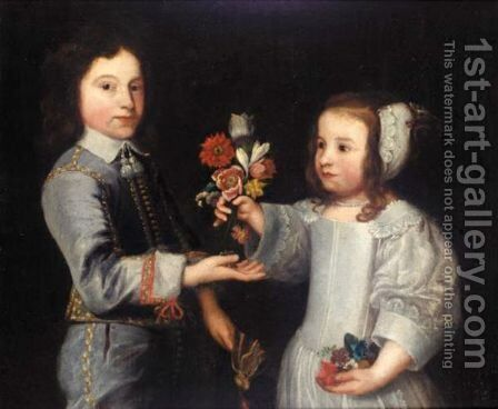 A Double Portrait Of A Young Boy And A Young Girl Holding Flowers by (after) Dyck, Sir Anthony van - Reproduction Oil Painting