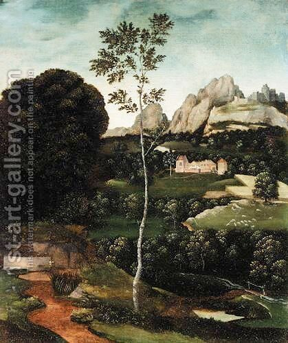 A Landscape With A Path And A Birch In The Foreground, A Farmhouse In The Distance by (after) Joachim Patenier (Patinir) - Reproduction Oil Painting