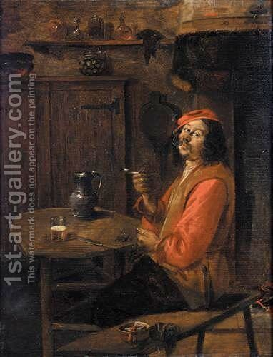 An Interior With A Boor Drinking And Smoking by Abraham Diepraam - Reproduction Oil Painting