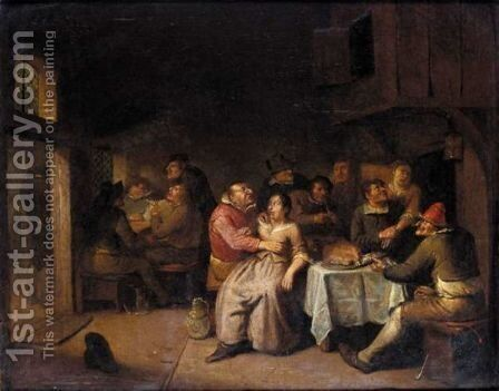 A Tavern Interior With Boors Eating, Drinking And Smoking by Egbert van, the Younger Heemskerck - Reproduction Oil Painting