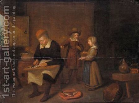 An Interior With A Man Preparing Herrings, A Young Boy And Girl Beyond by (after) Quirin Gerritsz. Van Brekelenkam - Reproduction Oil Painting