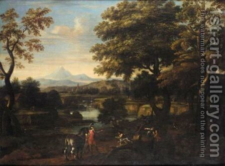 An Italianate Landscape With Erminia And The Basket Weavers by (after) Pietro Paolo Bonzi - Reproduction Oil Painting