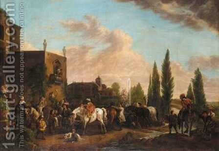An Elegant Company Resting From A Hunt Before A Palace by (after) Phillips Wouwermans - Reproduction Oil Painting