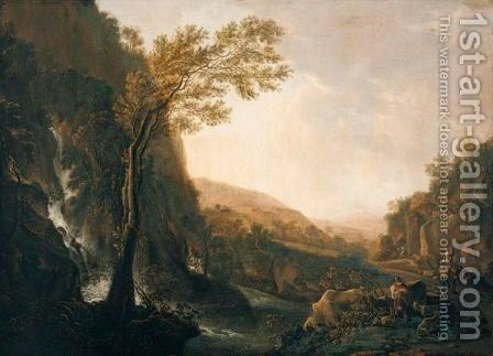 An Italianate Landscape With Travellers On A Road Beside A Waterfall At Dusk by (after) Jan Both - Reproduction Oil Painting