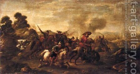 A Battle Scene With Turks And Christians Before A Bridge by (after) Jacques (Le Bourguignon) Courtois - Reproduction Oil Painting