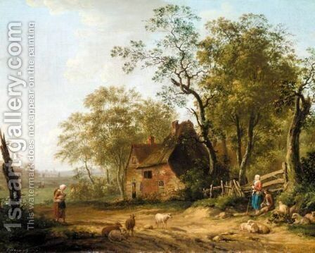 A Wooded Landscape With A Shepherd And Shepherdess Resting Beside A Track by Dutch School - Reproduction Oil Painting