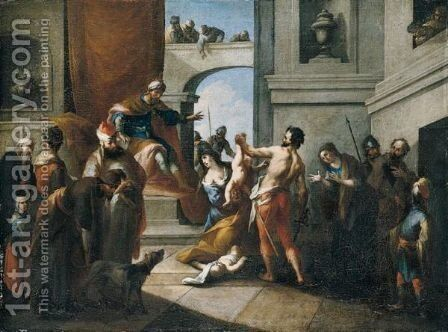The Judgement Of Solomon by (after) Michelangelo Unterberger - Reproduction Oil Painting