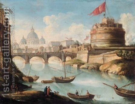 Rome, A View Of The Ponte Sant'Angelo And The Castel Sant'Angelo With The Basilica Of Saint Peter's Beyond by (after) Antonio Joli - Reproduction Oil Painting