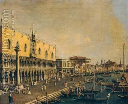 Venice, A View Of The Molo, With The Doge's Palace, Looking East by (after)  (Giovanni Antonio Canal) Canaletto - Reproduction Oil Painting