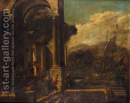 An Architectural Capriccio With The Rape Of Helen 2 by (after) Viviano Codazzi - Reproduction Oil Painting