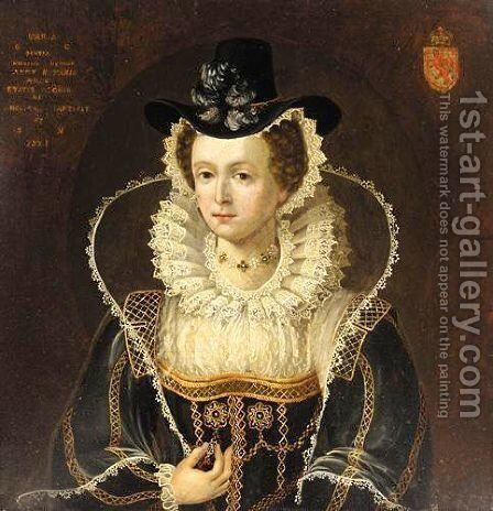 Portrait Of Mary Queen Of Scots (1542-1586) by (after) Isaac Oliver - Reproduction Oil Painting