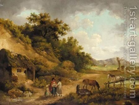 Peasants Talking Outside A Ruined Cottage In A Landscape By The Coast by (after) George Morland - Reproduction Oil Painting