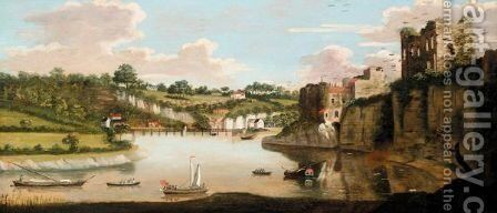 View Of Chepstow With Rowing Boats In The Foreground by English Provincial School - Reproduction Oil Painting