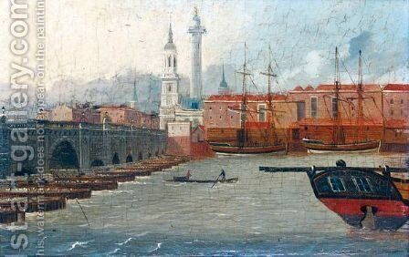 View Of London Bridge From The South Looking Across The Thames Towards The Monument by Daniel Turner - Reproduction Oil Painting