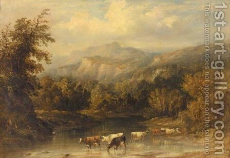 Cows Watering by Anthony Vandyke Copley Fielding - Reproduction Oil Painting