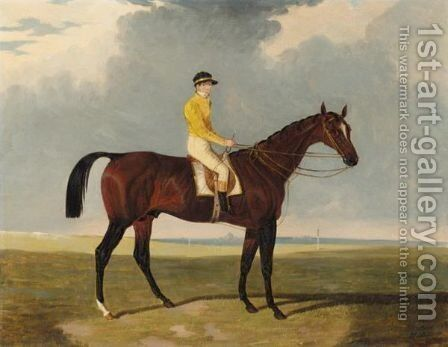 A Bay Racehorse With Jockey Up, A Racecourse Beyond by Charles Bilger Spalding - Reproduction Oil Painting