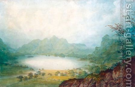 Keswick Lake by (after) John Laporte - Reproduction Oil Painting