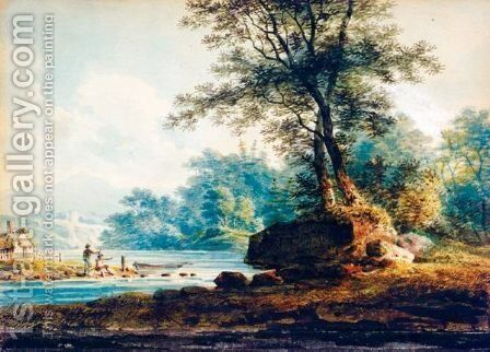 Figures By A River With A Castle And Mountains Beyond by Andrew Wilson - Reproduction Oil Painting