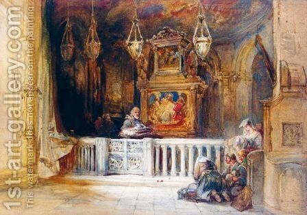 Figures Kneeling At An Altar by Charles Bentley - Reproduction Oil Painting