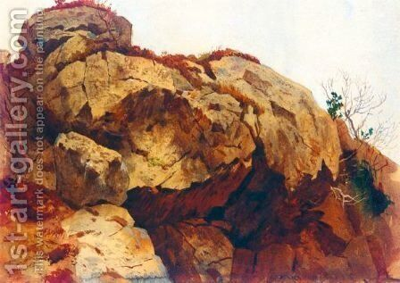 A Rocky Outcrop by Archibald Thorburn - Reproduction Oil Painting