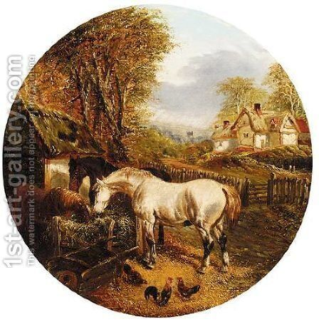Farmyard Scene by (after) John Frederick Jnr Herring - Reproduction Oil Painting