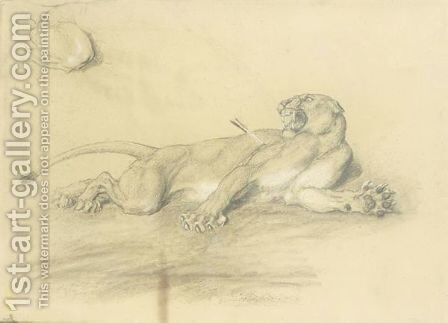 Wounded Lioness by Briton Rivière - Reproduction Oil Painting