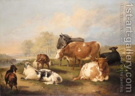 Cattle And Sheep In A Landscape by (after) Thomas Sidney Cooper - Reproduction Oil Painting