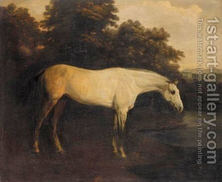 A Grey Hunter In A River Landscape 2 by Henry Bernard Chalon - Reproduction Oil Painting