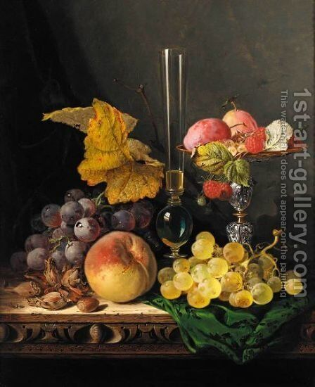 Still Life With Peaches Grapes Hazelnuts Raspberries And Plums With A Wine Glass by Edward Ladell - Reproduction Oil Painting