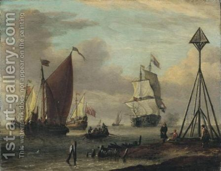 Navires Hollandais Pres D'Une Cote workshop Of Abraham Storckdutch Ships By A Coast by (after) Abraham Storck - Reproduction Oil Painting