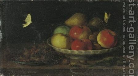 Still Life With Apples And Nutsstill Life With Flowers In A Vase by (after) Jacob Fopsen Van Es - Reproduction Oil Painting