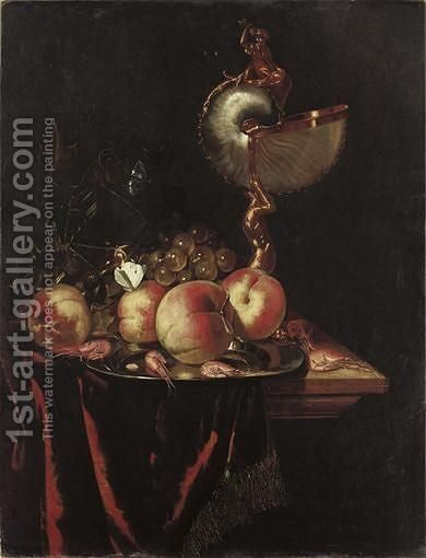 Fruits, Crustaces Et Nautile Sur Un Entablement harmen Loedingstill Life With Peaches And A Nautiluswe Are Grateful To Mr Fred Meijer For Confirming The Attribution On The Basis Of A Transparency. by Harmen Loeding - Reproduction Oil Painting