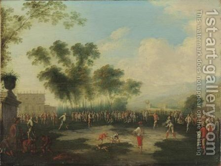 Figures In The Park Of A Villa by (after) Franz Ferg - Reproduction Oil Painting
