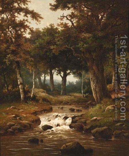 A Wooded Landscape With A Deer Nearby A River by Hendrik Pieter Koekkoek - Reproduction Oil Painting